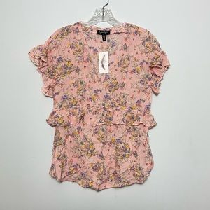 NWT Jessica Simpson Floral Ruffled V-Neck Top Sz S